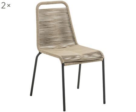 Gartenstühle Lambton mit Kunststoff-Geflecht, 2 Stück
