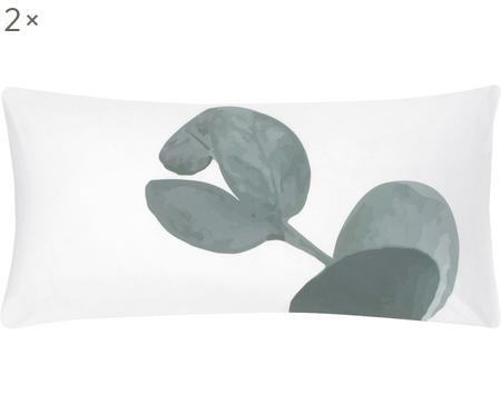 Baumwollperkal-Kissenbezüge Eukalyptus mit Blattmotiv, 2 Stück