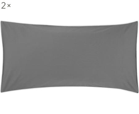 Baumwollperkal-Kissenbezüge Daria in Graumit Keder, 2 Stück
