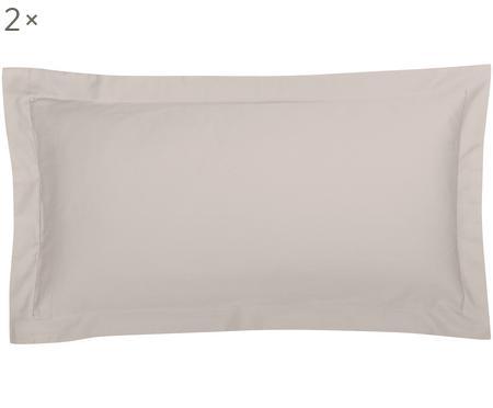 Baumwollsatin-Kissenbezüge Premium in Taupe mit Stehsaum, 2 Stück