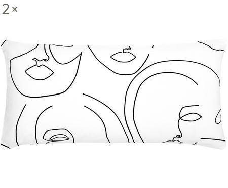 Baumwollperkal-Kissenbezüge Aria mit One Line Zeichnung, 2 Stück