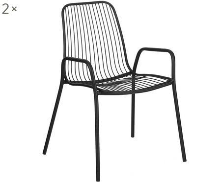 Krzesło z metalu z podłokietnikami Tirana, 2 szt.