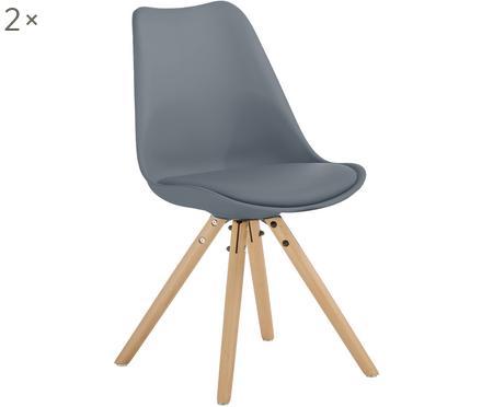 Chaises avec assise en cuir synthétique Max, 2pièces