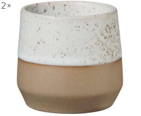 Eierbecher Caja matt in Braun- und Beigetönen, 2 Stück
