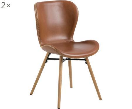 Chaises en cuir synthétique rembourrées Batilda, 2pièces