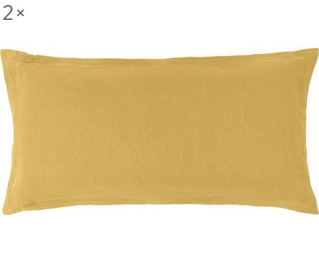 Gewaschene Leinen-Kissenbezüge Nature in Senfgelb, 2 Stück