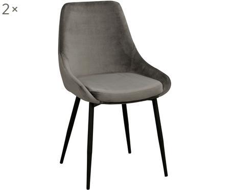 Krzesło tapicerowane z aksamitu Sierra, 2 szt.