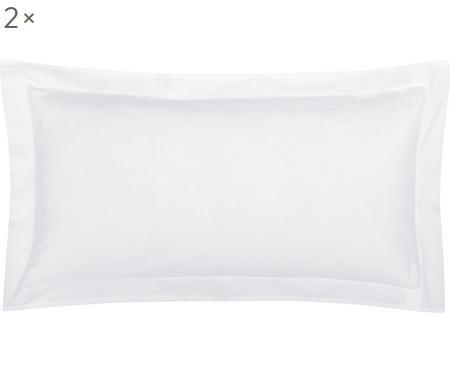 Baumwollsatin-Kissenbezüge Premium in Weiß mit Stehsaum, 2 Stück