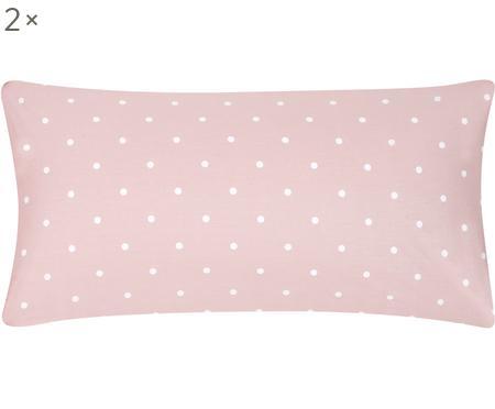 Gepunktete Renforcé-Kissenbezüge Dotty in Rosa/Weiß, 2 Stück