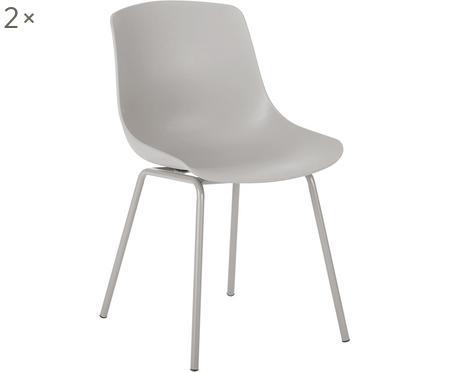 Sedia in plastica con gambe in metallo Dave 2 pz