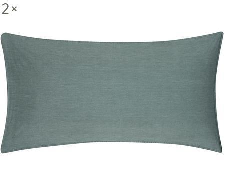 Gewaschene Baumwoll-Kissenbezüge Arlene in Dunkelgrün, 2 Stück