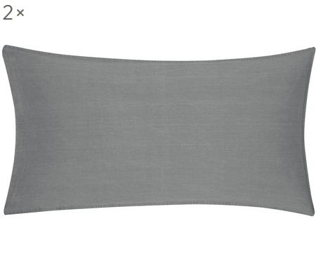 Gewaschene Baumwoll-Kissenbezüge Arlene in Dunkelgrau, 2 Stück