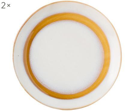 Handgemachte Dessertteller 70's im Retro Style, 2 Stück