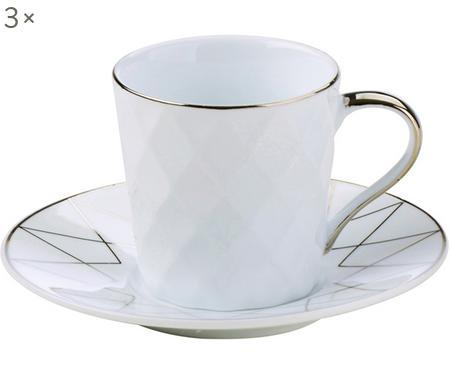 Espressotassen mit Untertassen Lux, 3 Stück