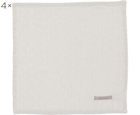Baumwoll-Servietten Blanc mit feinem Struktur-Muster, 4 Stück