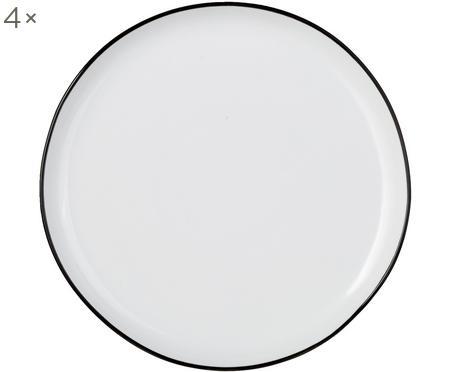 Ontbijtborden Abysse zwart/wit, 4 stuks