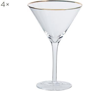 Martinigläser Chloe in Transparent mit Goldrand, 4 Stück