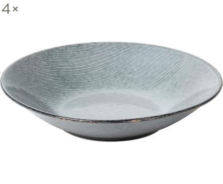 Handgemachte Suppenteller Nordic Sea aus Steingut, 4 Stück