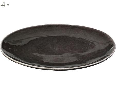 Handgemachte Speiseteller Nordic Coal aus Steingut, 4 Stück