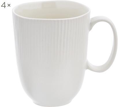 Handgemachte Tassen Sandvig mit leichtem Rillenrelief, 4 Stück