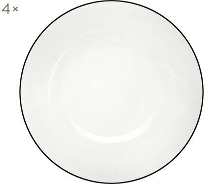 Dessertteller á table ligne noir mit schwarzem Rand, 4 Stück