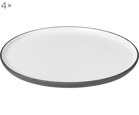 Handgemachter Frühstücksteller Esrum matt/glänzend, 4 Stück