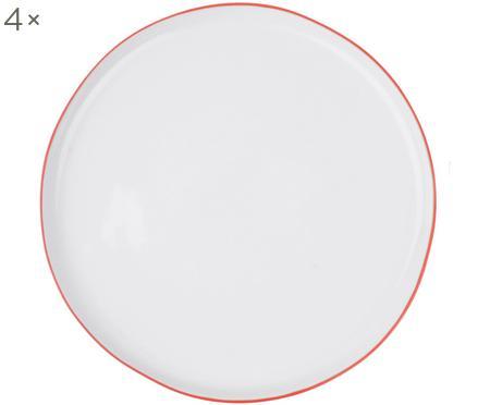 Speiseteller Abysse weiß/rot, 4 Stück