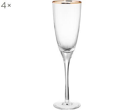 Champagnergläser Golden Twenties mit Goldrand, 4er-Set