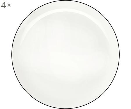 Speiseteller á table ligne noir mit schwarzem Rand, 4 Stück