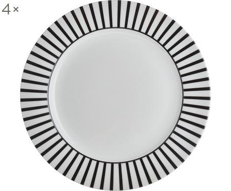 Platzteller Ceres Loft mit Streifendekor in Schwarz/Weiß, 4 Stück