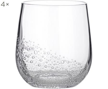 Mondgeblazen waterglazen Bubble, 4 stuks