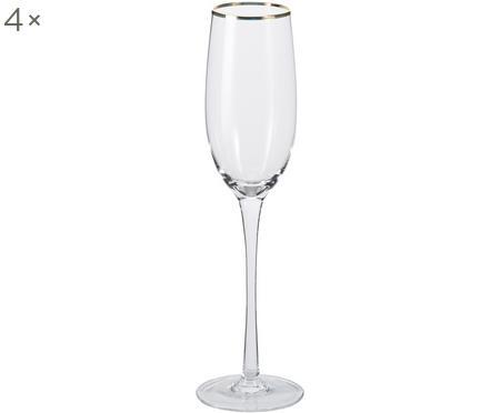 Flûtes à champagneavec bordure dorée Chloe, 4 pièces