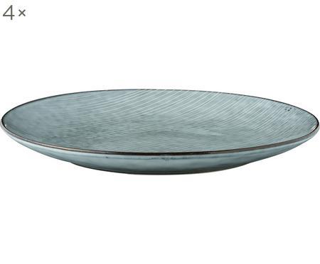 Handgemachte Platzteller Nordic Sea aus Steingut, 4 Stück