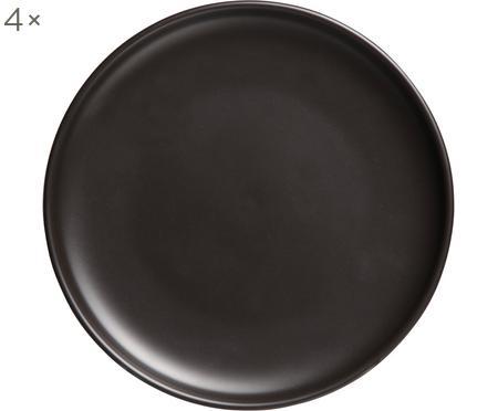 Speiseteller Okinawa in Schwarz matt, 4 Stück