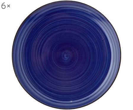 Handbemalte Frühstücksteller Baita in Blau, 6 Stück