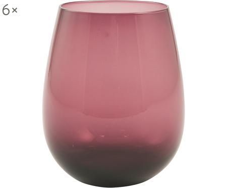 Bauchige Wassergläser Happy Hour in Violett, 6 Stück