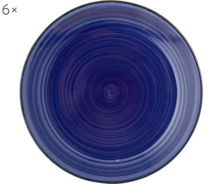 Handbemalte Speiseteller Baita in Blau, 6 Stück