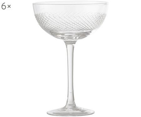 Champagnerschalen Serena mit dekorativen Schliffen, 6er-Set