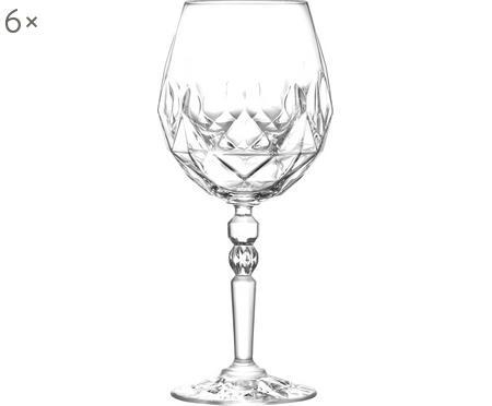 Verres à vin rouge en cristal avec embossage Calicia, 6pièces