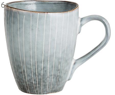 Handgemachte Tassen Nordic Sea aus Steingut, 6 Stück