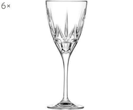 Verres à vin blanc en cristalà motifs embossés Chic, 6pièces
