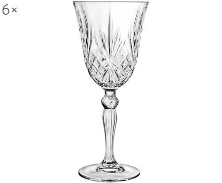 Verres à vin blanc en cristal à surface rainurée Melodia, 6pièces