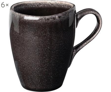 Handgemachte Tassen Nordic Coal, 6 Stück