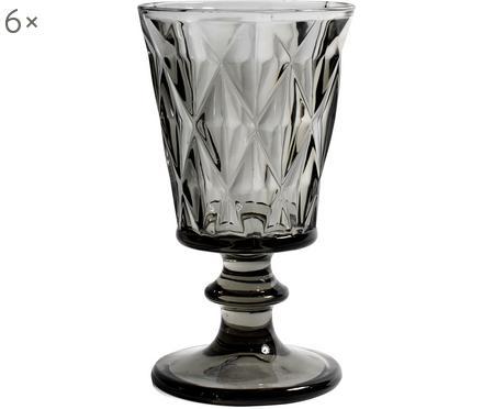 Vintage Weingläser Diamond mit Strukturmuster, 6er-Set