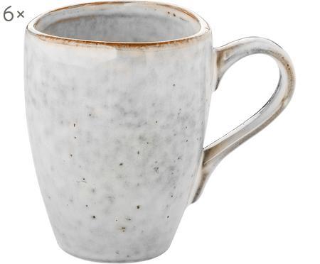 Handgemachte Tassen Nordic Sand aus Steingut, 6 Stück