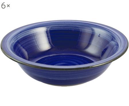 Handbemalte Suppenteller Baita in Blau, 6 Stück