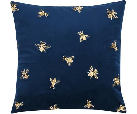 Bestickte Samt-Kissenhülle Nora in Blau und Gold