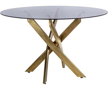 Table en verre noir et pieds design couleur laiton George