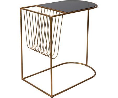 Stolik pomocniczy z metalu z uchwytem na czasopisma Eileen