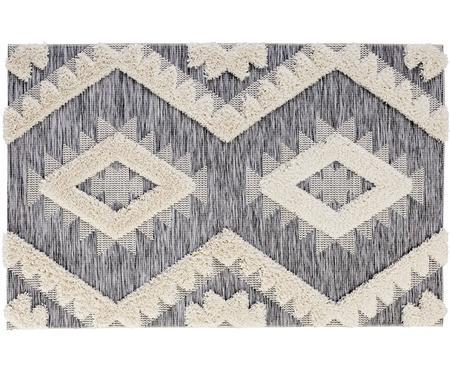 In- und Outdoorteppich Tiddas mit Hoch-Tief-Effekt in Grau-Creme